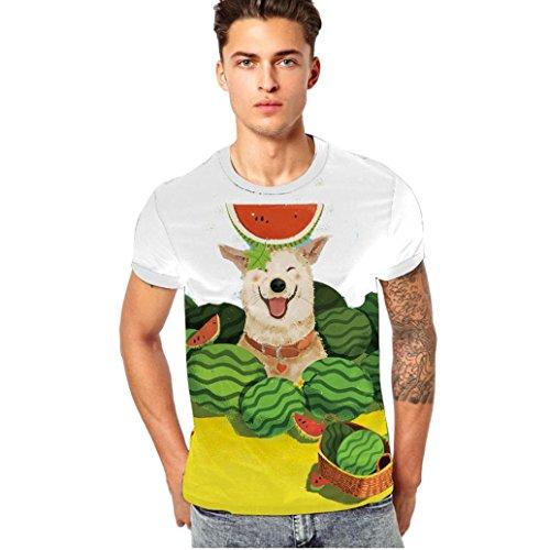 GreatestPAK T-Shirt Herren Mode Frühjahr und Sommer 3D-Druck Bunte T-Shirt,Weiß,XXL