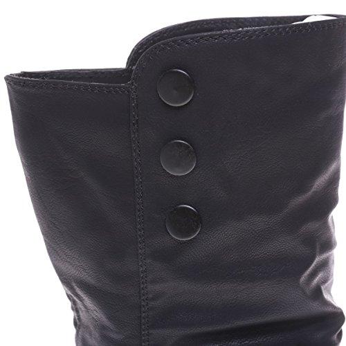 La Modeuse - Bottines à talon plat aspect cuir Noir