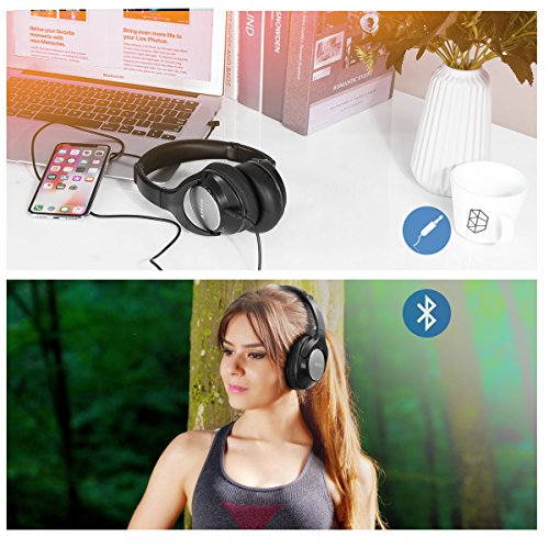 JIUHUFH Bluetooth Kopfhörer Over-Ear, Wireless Headset Faltbare mit Mikrofon, Super-HiFi, Perfekt Bass, 3,5 mm AUX, 20 Stunden Spielzeit für Handy, Tablets und PC - Schwarz - 6