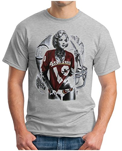 OM3 - Marilyn Monroe - 49ers - T-Shirt San Francisco American Football Hollywood Star Legend LA NY USA, M, Grau Meliert - Marilyn Monroe T-shirt Tee
