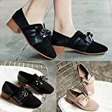 Lailailaily Womens Spring Autumn Fashion Thick Heel Square-Toe Bowknot Retro Single Shoes