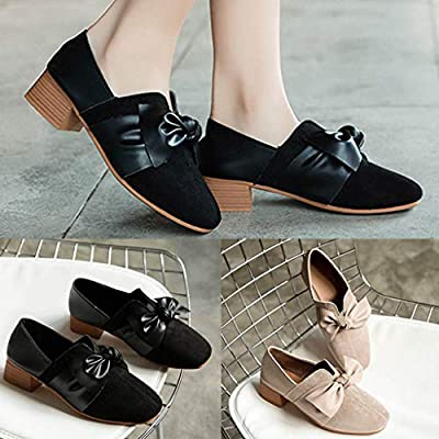 Lailailaily Womens Spring Autumn Fashion Thick Heel Square-Toe Bowknot Retro Single Shoes