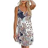 Damen Print Sling Minirock Kleid YunYoud Ärmelloses Retro Mini Strandkleid sommer kurz strand kleid jumpsuit elegant kleid für damen, Weiß, M