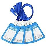 TOOHUI 4 Stück ID-Kartenhalter, Ausweishülle mit Band, ID Abzeichen Halter, Ausweis-Set für Geschäftsereignisse, Arbeit, Ausstellungen, Veranstaltungen, Büro und Schulbedarf (Blau)