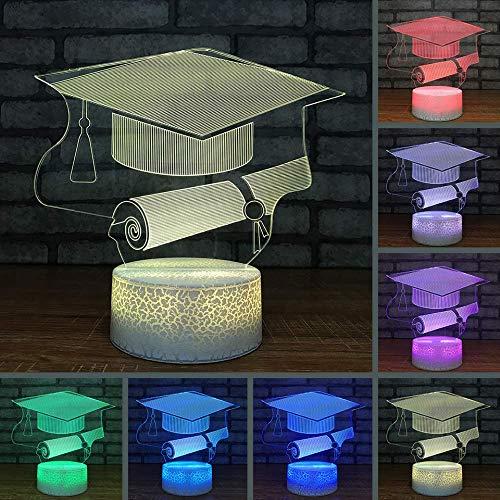 BDQZ Kreative Heimat Nachtlichter Tischlampe 7 Farbwechsel 3D Led Graduation Cap Zertifikat Luminarias Beleuchtung Studie Schlafzimmer Geschenke (Lila Cap Graduation)