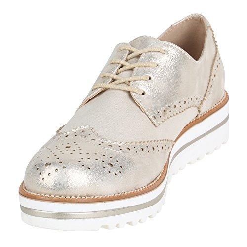 Brogues Plateauschuhe Schuhe Damen Gold Wildleder Stiefelparadies Halbschuhe Profilsohle Optik Flandell Glitzer Wedges Plateau Strass Lack Brogues Metallic wIwTqF0v