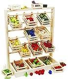 Small Foot by Legler Verkaufsstand aus Holz, großer Stand mit zwölf leeren Kisten, schöne und stabile Ausführung, überzeugt mit Natürlichkeit, fördert die Kreativität und das Rollenspiel