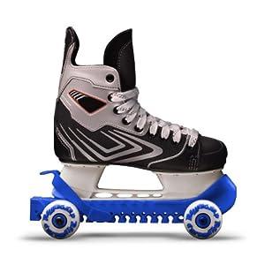 RollerGard Kufenschoner mit Rollen – Kufenschoner für Eishockey- & Schlittschuhe I Eishockeyschlittschuh-Schutz I Kufenzubehör I Blau – One Size