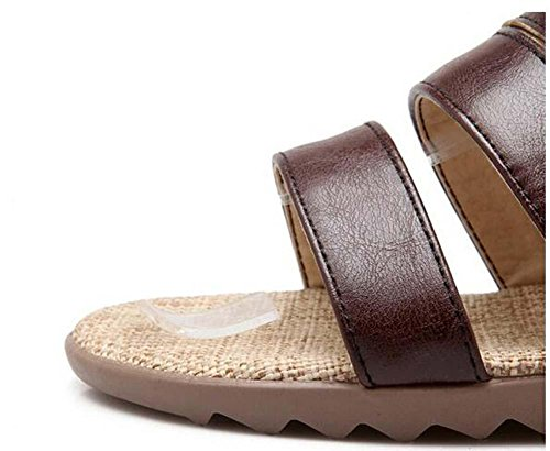 Beauqueen Cool Bottes Pompes Femmes Eté Flat Buckle Pied Sangle Bandes Femme Cheville Sport Voyage Chaussures Spécial Taille Europe 34-43 Brown