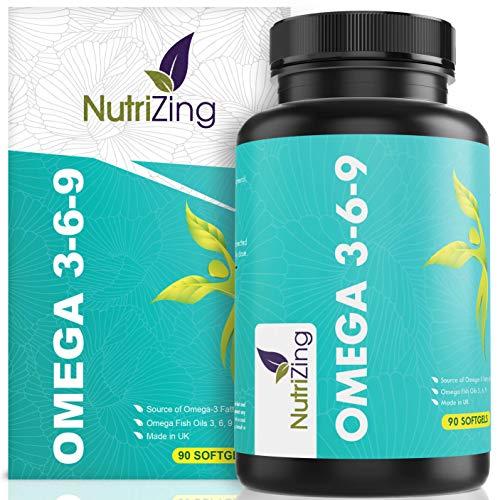 NutriZing Omega 3 6 9 verdreifachte Fischöl Komplexe Stärke ~1000mg für Frauen & Männer ~ 100{37d2c47c3c0af86210666061ee7d02aab891bf4c55e910c92e5dc101278443bc} Geld-zurück-Garantie ~90 Kapseln ~ Leinsamenöl ~ EPA und DHA tragen zur normalen Funktion des Herzens bei