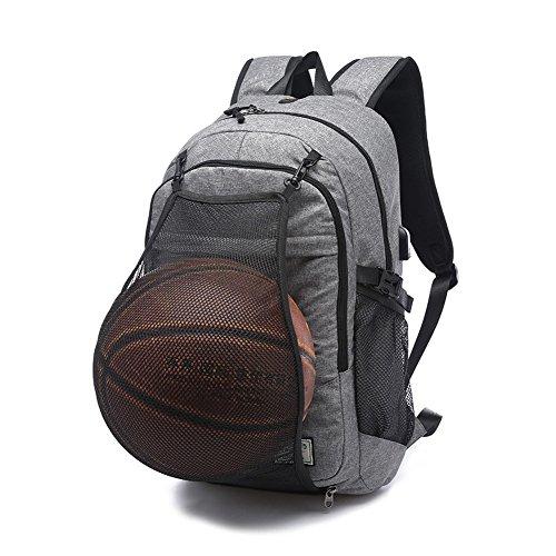 Business Sports 2 in 1 Laptop Rucksack 17 Zoll mit USB Ladeanschluss und versteckte Mesh Tasche Reisetaschen Passend Notizbuch innerhalb 15,6 Zoll (Basketball not Included) (Grau02)