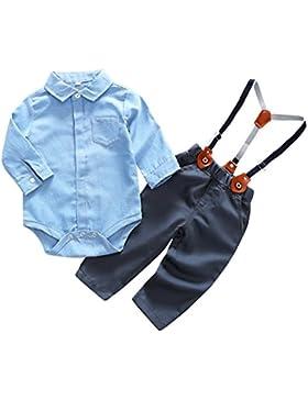 Feoya Baby Jungen Bekleidung Set Festliche Kleidung Baumwolle Hemd Hose Hosenträger Taufanzug Gentleman Anzug...