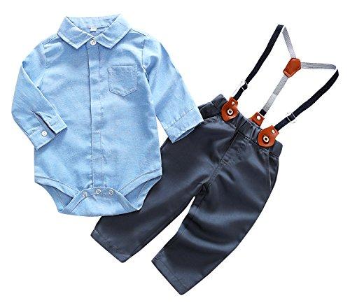 Feoya Baby Bekleidungset Festliche Kleidung Gentleman Suit Langarm Hemd Hoseträger Taufanzug Hochzeitanzug Baumwolle Outfits 6-9 Monaten