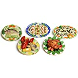 "Dollhouse Miniature Food ""Family Dinner Set"" -Set Of 5- Premium Quality Unique Handcrafted Ceramic Tiny Fake Food - B073822VZ1"
