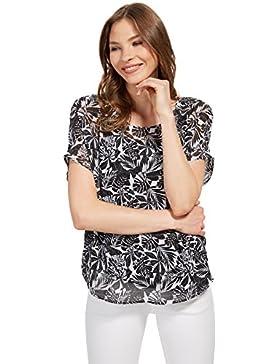 Tom Tailor für Frauen Shirt / Blouse Bluse mit gemustertem Overlayer