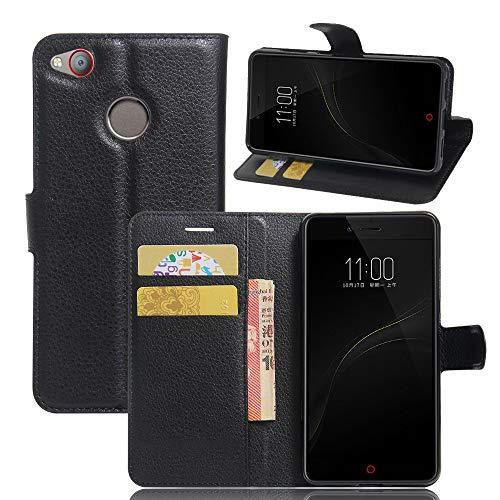Tasche für ZTE Nubia Z11 Mini S Hülle, Ycloud PU Ledertasche Flip Cover Wallet Case Handyhülle mit Stand Function Credit Card Slots Bookstyle Purse Design schwarz