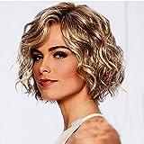 Courte légèrement bouclés Perruques pour Femme Fluffy Femme Cheveux Blonds Perruques résistant à la Chaleur Perruque Aspect Naturel des Perruques de Perruque Naturelles Bob ondulée Cheveux (Blonde)