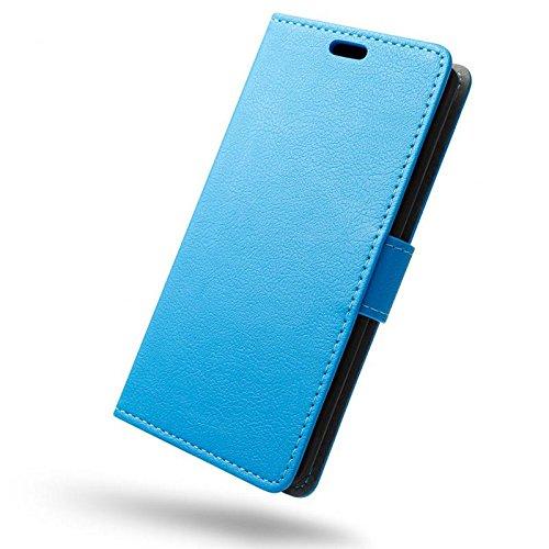 SLEO Wileyfox Spark x Hülle, Leder Case PU Ledertasche Magnet [Vollständigen Schutz] Flip Case mit Standfunktion Kartenfächer im Bookstyle für Wileyfox Spark x - Blau