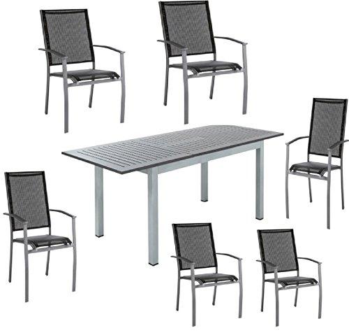 Ensemble de jardin de luxe Home Classic Haversham - Table à manger extensible et 6 chaises confortables et empilables - Pour fête de jardin, extérieur - Gris et noir