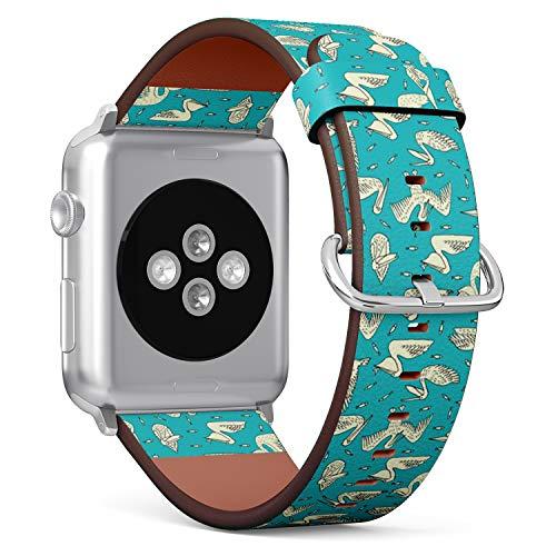 Art-Strap Kompatibel mit für SMALL Apple Watch 38mm & 40mm - Uhrenarmband Ersatzarmbänder Lederarmband mit Edelstahl-Verschluss und Adapter (Vögel Pelikane Fische) Pelikan-adapter