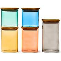 EZOWare Bocaux de Rangement Coloré et Carrés Empilables en Verre Borosilicate avec Couvercle Hermétique, Boîte de…