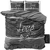 Housse De Couette Sleeptime Coton Pure Love, 220cm x 240cm, Avec 2 Housse D'oreiller 60cm x 70cm, Gris