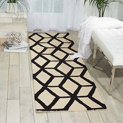 Nourison Teppich Mondrian 99446220295-Elfenbein/Schwarz handgewebt Teppich, elfenbein/schwarz, 2ft 3Zoll x 7ft 6 - Schwarz Elfenbein Teppich