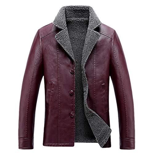 Aoogo Herren Lederjacke Vintage Dicke und Warme Kunstlederjacke mit Pelzkragen Slim Fit Braune Freizeit Jacke Winter Modern