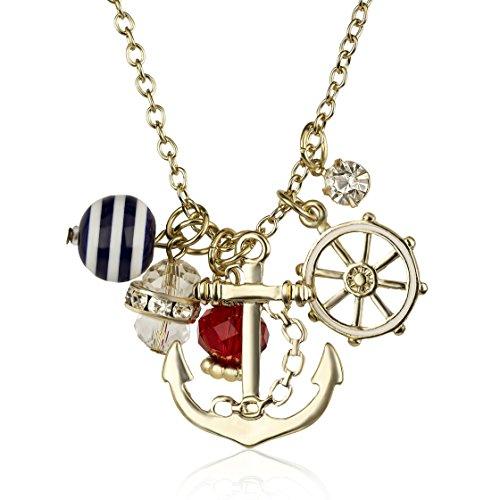 n Nautisches Cluster Anker Schiffe Rad Charme Halskette (Nautische Halskette)