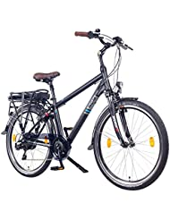 NCM Hamburg 26 Zoll Elektrofahrrad Herren/Damen Unisex Pedelec,E-Bike,City Rad, 36V 250W 14Ah Lithium-Ionen-Akku mit PANASONIC Zellen, matt schwarz