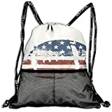 Drawstring Backpacks Bags,Grunge American Flag Themed Stitched Rugby Ball Vintage Design Football Theme,5 Liter Capacity,Adjustable