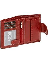 Grande capacité de cire de luxe Mesdames élégant Porte-feuille pour Les Femmes Porte-monnaie LEAS, cuir véritable, rouge/cerise - LEAS Special-Edition