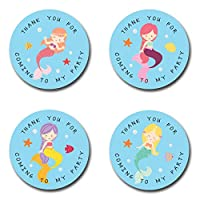 40mm Mermaid Thank You For Coming To My Party Round Stickers for Party Bags & Sweet Cones