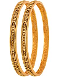 BFC- Buy For Change Traditional One Gram Gold Plated Gold Bead Designer Pair Bangles For Women-2..4