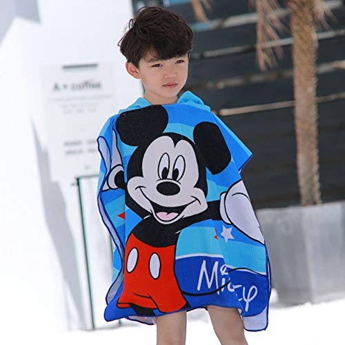 neyCartoon Mickey Frozen ELSA Ann Cars KT Sofia Children Bath Towel Bathrobe Men and Women Baby Soft can wear Beach Towel ()