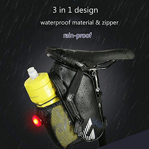 Fahrrad Sattel Taschen Tasche fucnen Wasserdicht Sitz Fahrrad Tasche Pack mit Wasser Flasche Taschen Halter und Bike der neuesten Fashion schön Stil unter dem Sattel Wedge Pack Fahrradtasche für Outdoor Road Mountain Fahrrad Rücklicht, black+dark blue