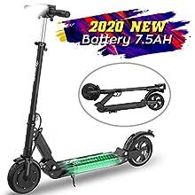 MARKBOARD Trottinette électrique, patinette Pliable pour Enfant et Adulte Robuste avec LED (Noir)