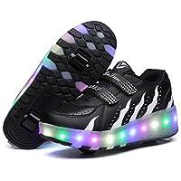 HUSKSWARE Roller Skates Shoes Girls Boys Double Roller Shoes Kids Outdoor Luminous Shoes for Kids (27, Black White)