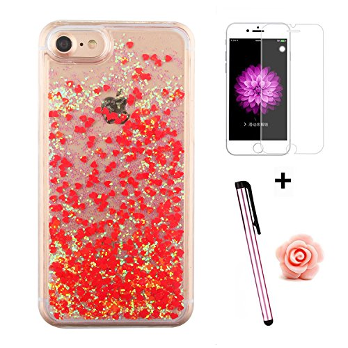 Custodia per iPhone 7 Case,Cover per iPhone 7,TOYYM - Love Heart Star Crystal Case Cover, Resistente Chiaro Trasparente [Bling Liquid] con divertente liquido flottante 3D con lussiosi glitter per iPho Color 15#