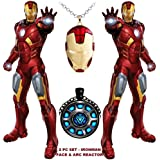 2 PC AVENGERS SET - IRONMAN FACE & ARC REACTOR TRENDY IMPORTED METAL PENDANTS WITH CHAIN. LADY HAWK DESIGNER SERIES 2018. ❤ LATEST ARRIVALS - RINGS & T SHIRT - CAPTAIN AMERICA - AVENGERS - MARVEL - SHIELD - IRONMAN - HULK - THOR - X MEN - D