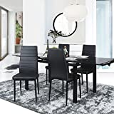 Aingoo Dining Chairs Kitchen Chairs Set of 4 PU Leather Elegant Design High Back Home Kitchen Furniture Black