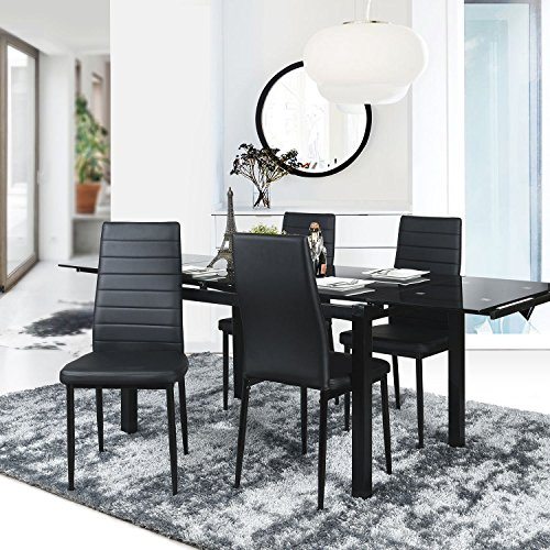 Aingoo Dining Chairs Kitchen Chairs Set of 4 PU Leather Elegant Design High Back Home Kitchen Furniture Black (Black)