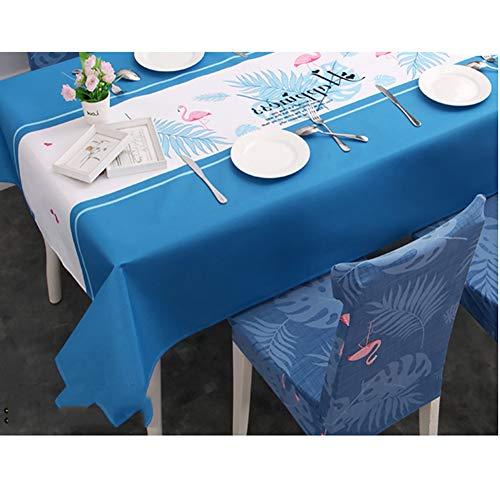 BATSDCB Bettwäsche aus Baumwolle Klein frisch Tischdecken, Wasserdicht Anti-verbrühende isolierte Spitze Ölbeweis Waschen-frei Tisch-Abdeckung-Blau 140x210cm(55x83inch)