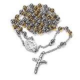 FaithHeart Unisex Herren Damen Halskette Edelstahl Christus Jesus Saint Benedict Medaille & Kruzifix Rosenkranz Gold Kugelkette Kette für männer mit Kreuz Anhänger Talisman Schmuck