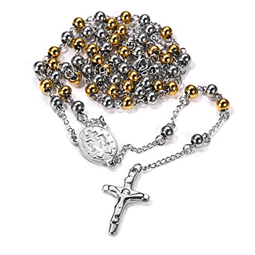 FaithHeart Unisex Herren Damen Halskette Edelstahl Christus Jesus Saint Benedict Medaille & Kruzifix Rosenkranz Gold Kugelkette Kette für männer mit Kreuz Anhänger Talisman Schmuck ...