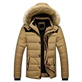 Herren Steppjacke,Honestyi Herren Outdoor warm Winter Dick Jacke Plus Pelz Steppjacke (Khaki, XXL)