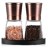 Tiawudi Pfeffermühlen, Salz- und Pfeffermühle mit Silikonständer (2 Stück) Kupferfarbener Edelstahl, Salz- und Pfeffer-Mahlanlagen mit Leicht Einstellbarer Keramischer Rauheit, Glaskörper -