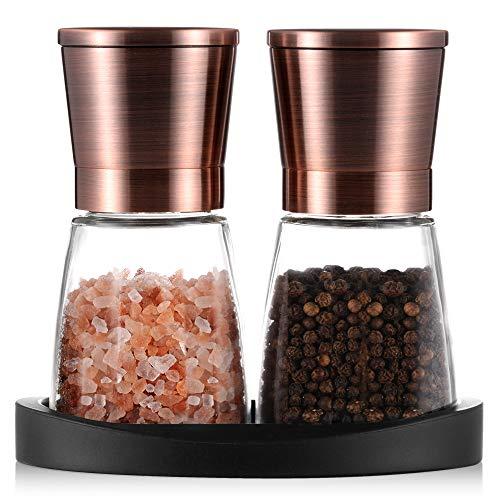 Tiawudi Pfeffermühlen, Salz- und Pfeffermühle mit Silikonständer (2 Stück) Kupferfarbener Edelstahl, Salz- und Pfeffer-Mahlanlagen mit Leicht Einstellbarer Keramischer Rauheit, Glaskörper