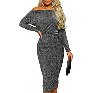 631ab99bdeff1 Elapsy Womens Long Sleeve Ruched High Waist Bodycon Off Shoulder Party  Dresses