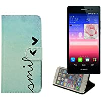 360° Funda Smartphone para Huawei Ascend P7, 'smile'   Wallet case flip cover caja bolsa Caso Monedero BookStyle - K-S-Trade (TM)